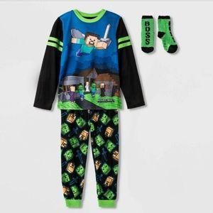 Minecraft Zombie Creeper Boy's Pajamas With Socks